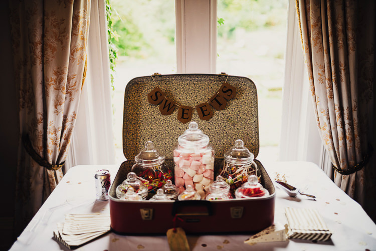 Sweets Sweetie Table Station Bar Suitcase Quirky Stylish Country House Wedding http://www.stevebridgwoodphotography.co.uk/