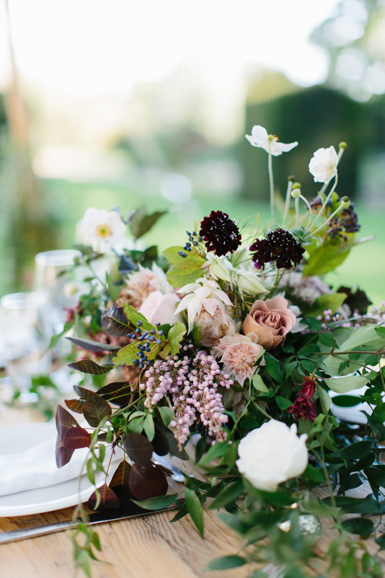 Flower Centepiece Blush Pink Decor Table Wild Romance Greenery Wedding Ideas http://www.melissabeattie.com/