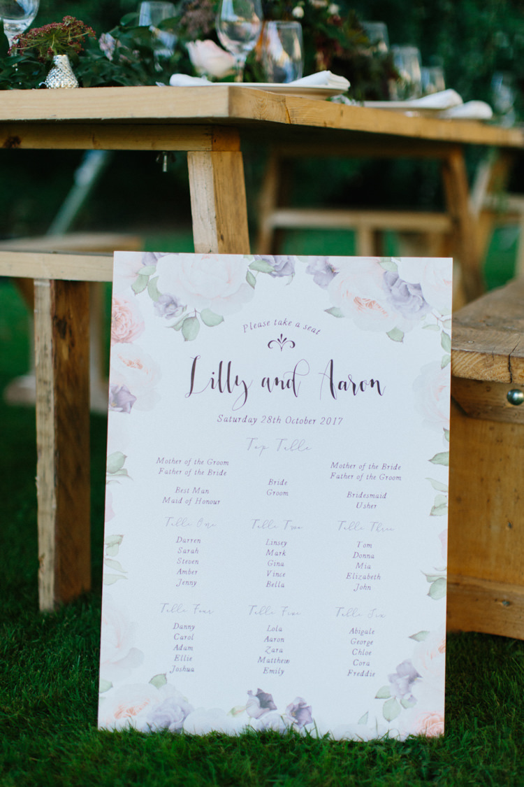 Floral Seating Plan Table Chart Pretty Wild Romance Greenery Wedding Ideas http://www.melissabeattie.com/