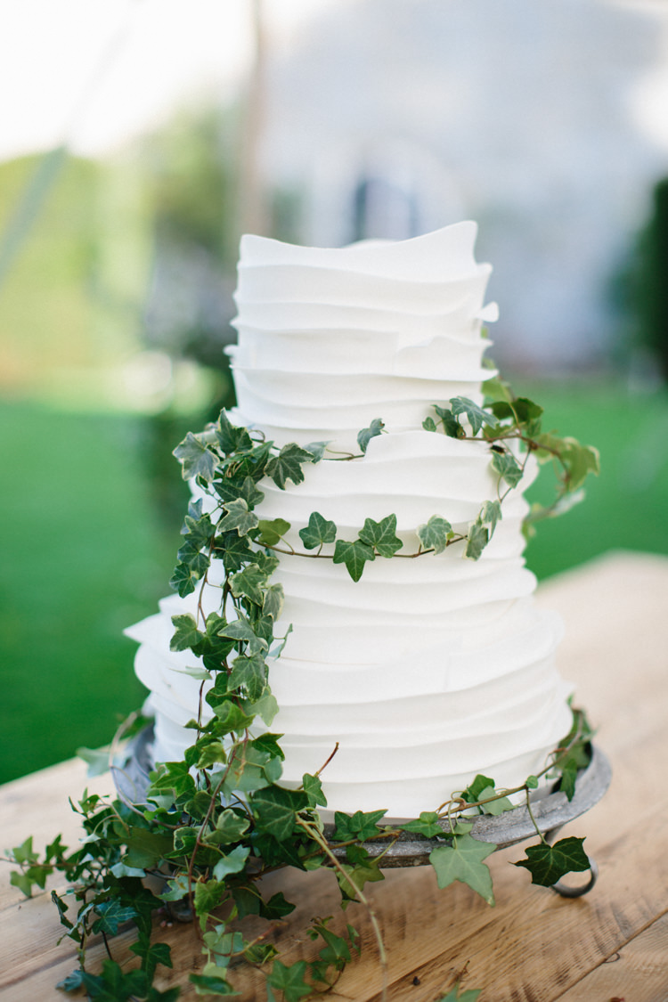 Rustic Buttercream Cake White Ivy Foliage Wild Romance Greenery Wedding Ideas http://www.melissabeattie.com/