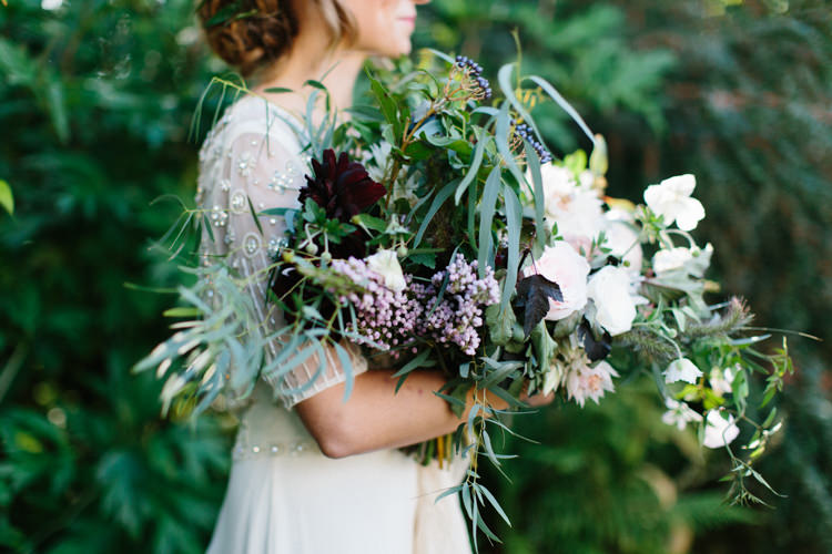 Foliage Flowers Bouquet Dahlia Ribbon Silk Bride Bridal Wild Romance Greenery Wedding Ideas http://www.melissabeattie.com/