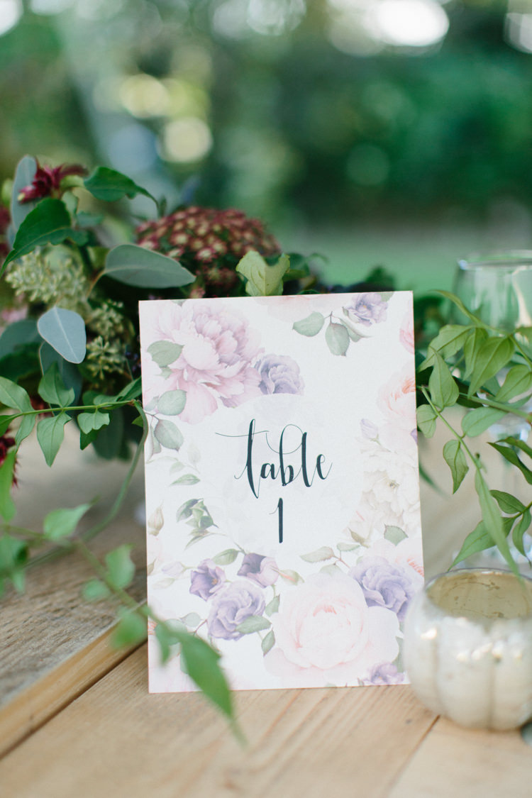 Floral Table Number Stationery Wild Romance Greenery Wedding Ideas http://www.melissabeattie.com/