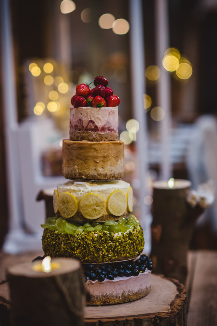 Tiered Cheesecake Quirky Cake Table Crafty Rustic Farm Barn Wedding http://www.sophieduckworthphotography.com/