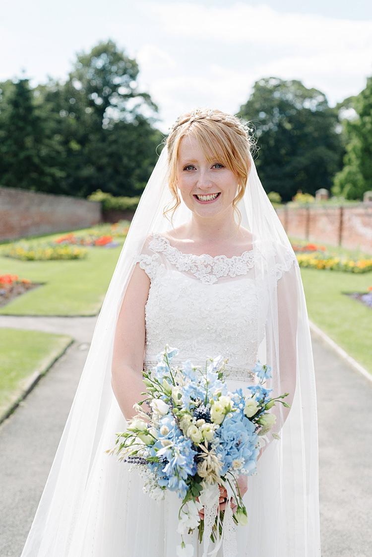 Alfred Angelo Bride Gown Justin Alexander Jacket Sahara Veil Pretty Pale Blue Summer Wedding http://www.georginabrewster.com/