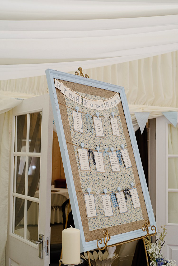 DIY Table Plan Board Rag and Bow Bunting Pretty Pale Blue Summer Wedding http://www.georginabrewster.com/