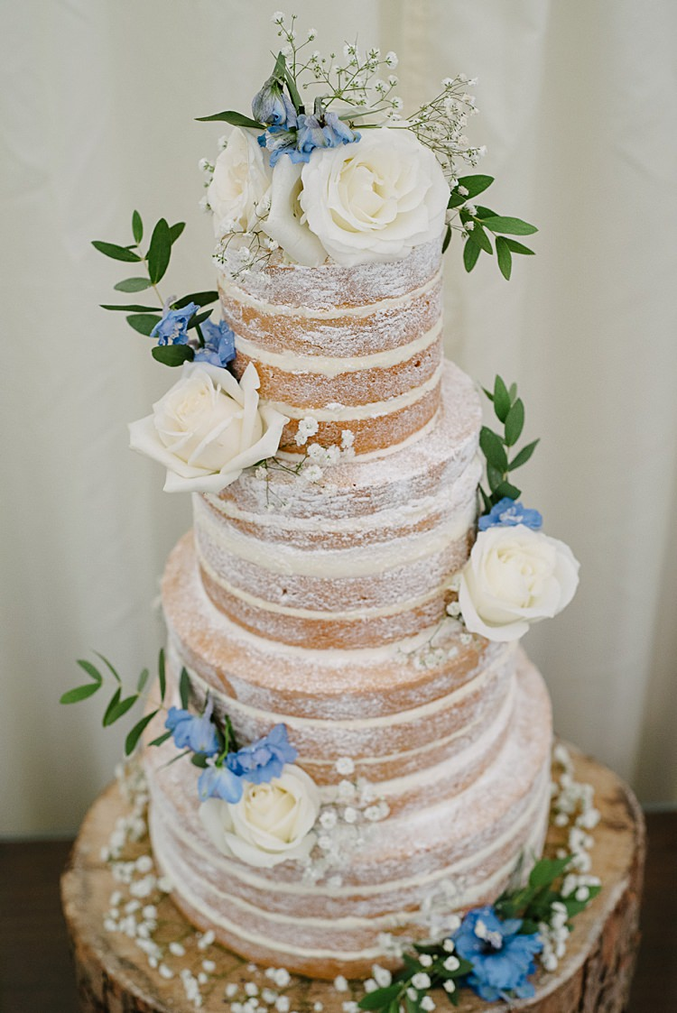 Naked Cake Rustic Pretty Pale Blue Summer Wedding http://www.georginabrewster.com/