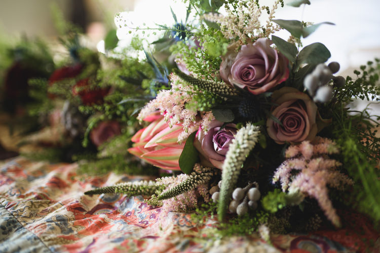 Protea Rose Bouquet Flowers Foliage Bride Bridal Quirky Vintage Glamour Wedding https://www.jacksonandcophotography.com/