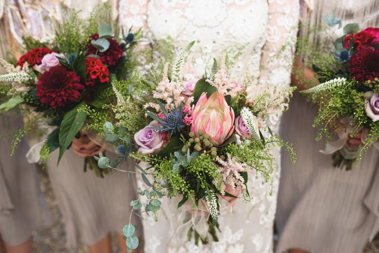 Protea Bouquet Flowers Bride Bridal Pink Quirky Vintage Glamour Wedding https://www.jacksonandcophotography.com/
