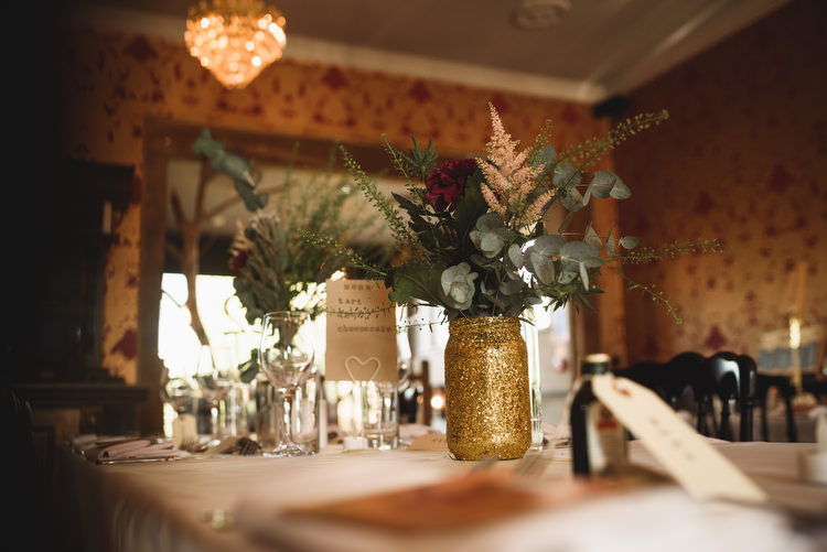 Gold Glitter Jar Flowers Decor Quirky Vintage Glamour Wedding https://www.jacksonandcophotography.com/