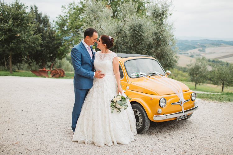Justin Alexander Bridal Ted Baker Groom Vintage Fiat 500 Car Beautiful Tuscan Villa Destination Wedding http://www.francessales.co.uk/