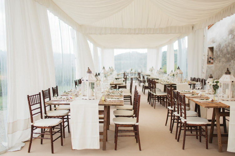 Clear Sided Marquee Elegant White Decor Beautiful Tuscan Villa Destination Wedding http://www.francessales.co.uk/