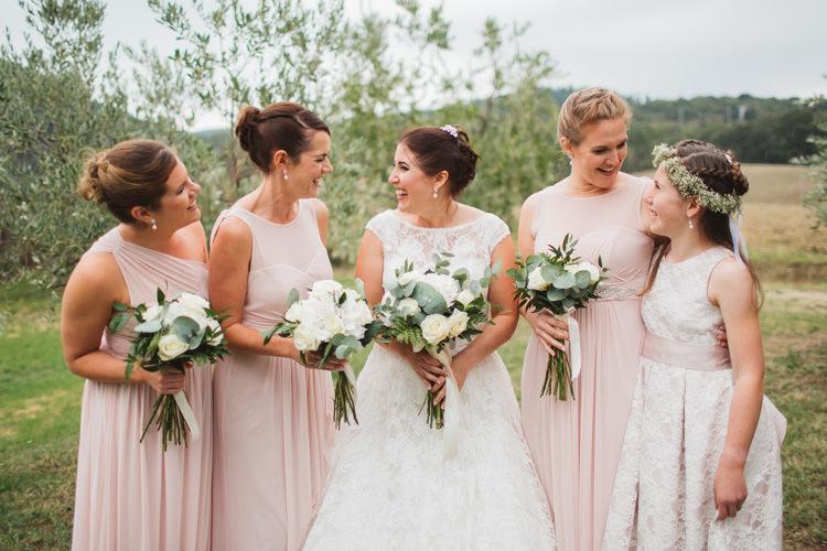 Pale Pink Bridesmaid Dresses Beautiful Tuscan Villa Destination Wedding http://www.francessales.co.uk/