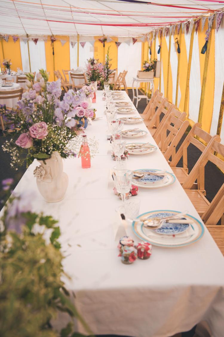 Crockery Vintage Flowers Tables Colourful Country Farm Marquee Wedding http://www.hannahmilesphotography.com/