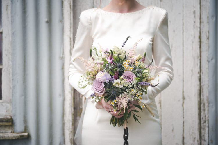 Bouquet Bride Bridal Pink Purple Flowers Colourful Country Farm Marquee Wedding http://www.hannahmilesphotography.com/