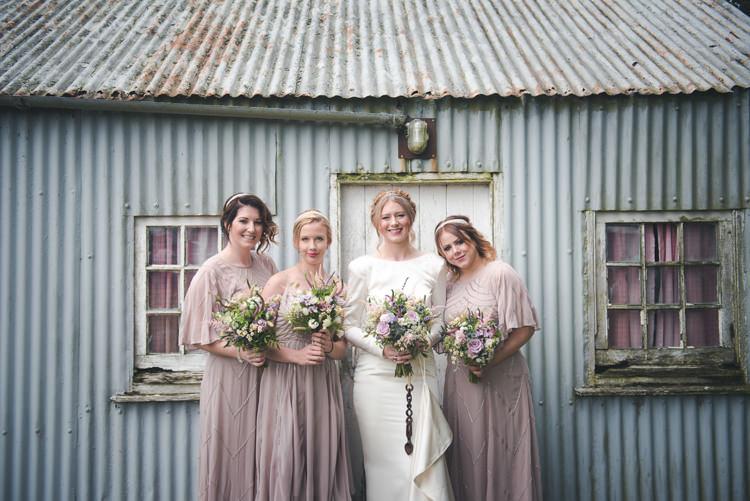 Long Blush Pink Bridesmaid Dresses Colourful Country Farm Marquee Wedding http://www.hannahmilesphotography.com/