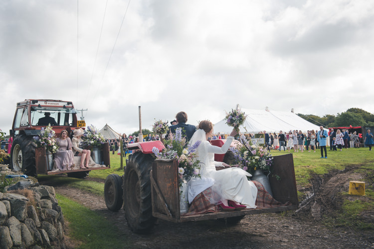Tractor Transport Colourful Country Farm Marquee Wedding http://www.hannahmilesphotography.com/