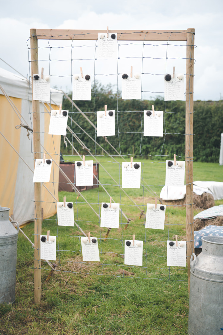 Seating Plan Table Chart Wooden Frame Wire Colourful Country Farm Marquee Wedding http://www.hannahmilesphotography.com/