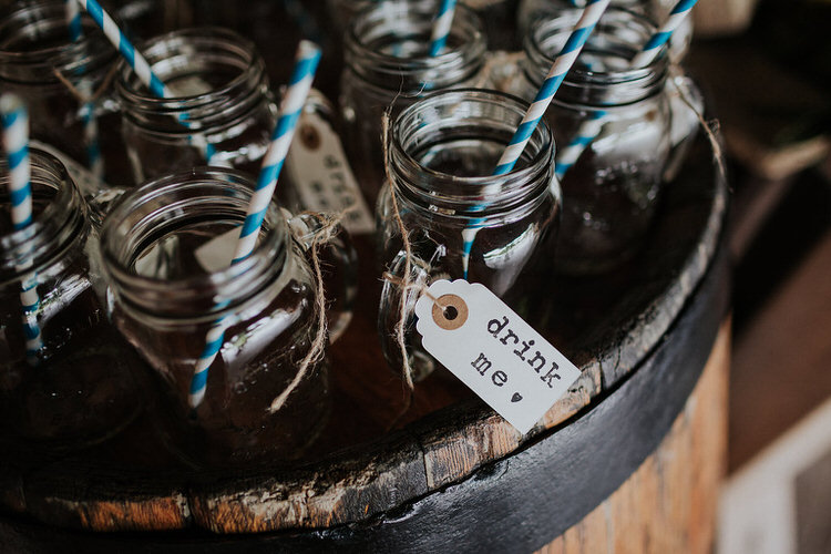 Jar Drinks Straws Lables Stylish Hand Made Rainy Summer Barn Wedding http://www.kategrayphotography.com/