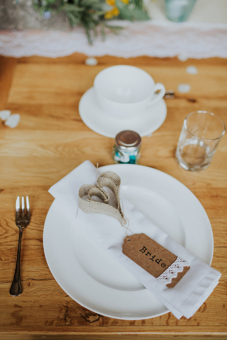 Place Name Setting Luggage Tag Heart Napkin Stylish Hand Made Rainy Summer Barn Wedding http://www.kategrayphotography.com/
