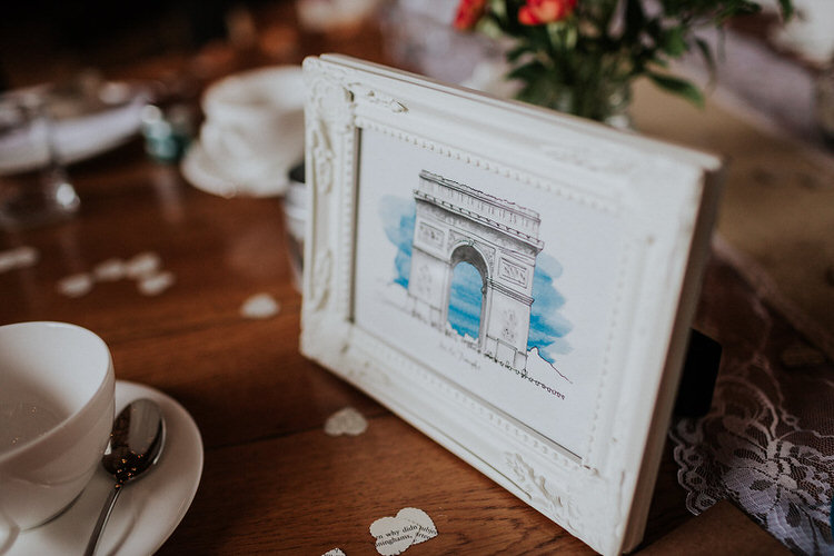 Table Name Place Art Work Watercolour Stylish Hand Made Rainy Summer Barn Wedding http://www.kategrayphotography.com/