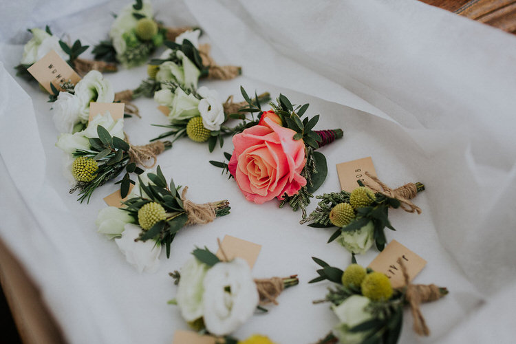 Buttonholes Roses Coral Cream Groom Groomsmen Stylish Hand Made Rainy Summer Barn Wedding http://www.kategrayphotography.com/