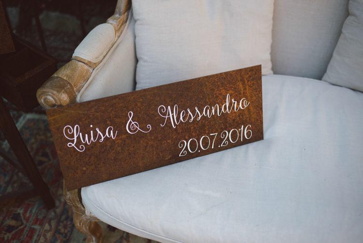 Vintage Cigar Bar Wooden Personalised Sign White Calligraphy Vintage Cream Sofa Botanical Copper Greenery Lake Como Wedding http://margheritacalatiphotography.com/