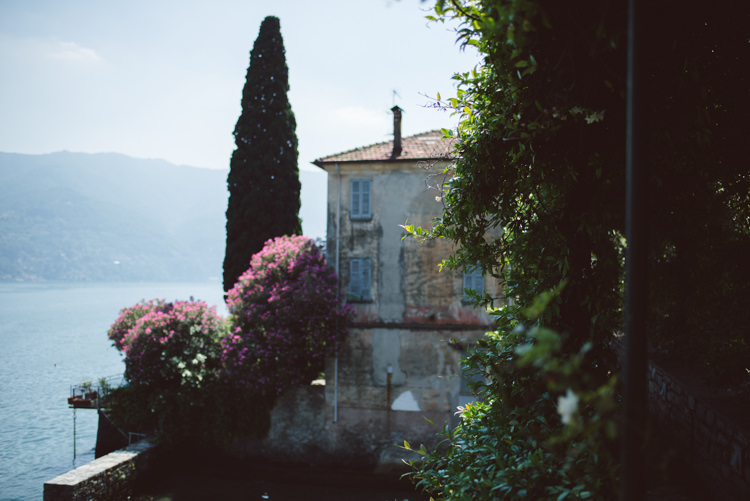 Ceremony Location Lake View Villa Pink Florals Trees Botanical Copper Greenery Lake Como Wedding http://margheritacalatiphotography.com/