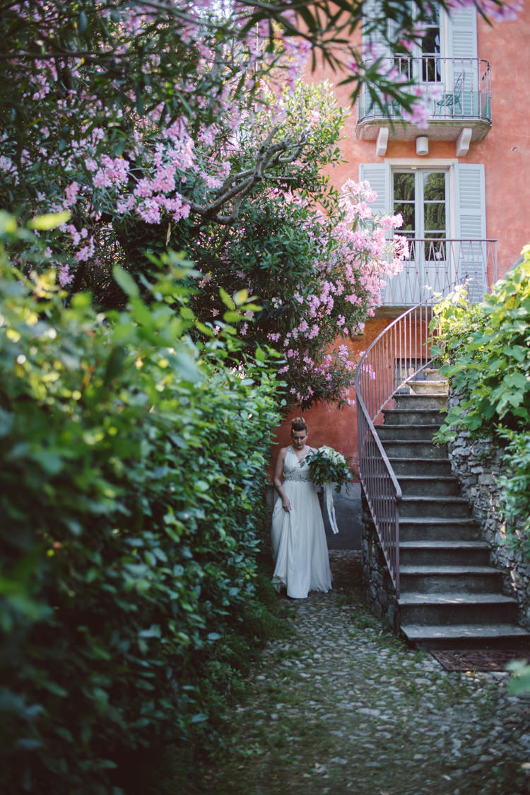 Bride V Neck Jenny Packham Embellished Bridal Gown Bouquet Villa Pink Floral Tree Botanical Copper Greenery Lake Como Wedding http://margheritacalatiphotography.com/
