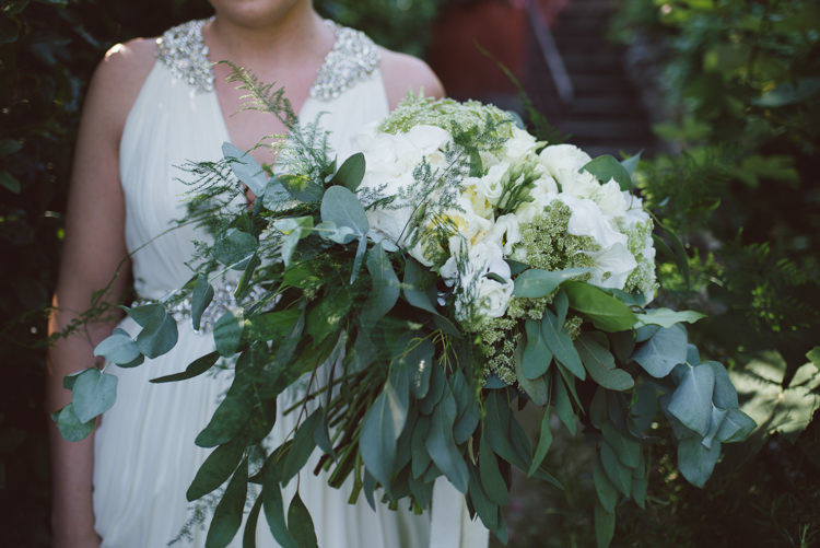 Bride V Neck Jenny Packham Embellished Bridal Gown Bouquet White Cream Florals Roses Greenery Eucalyptus Botanical Copper Greenery Lake Como Wedding http://margheritacalatiphotography.com/