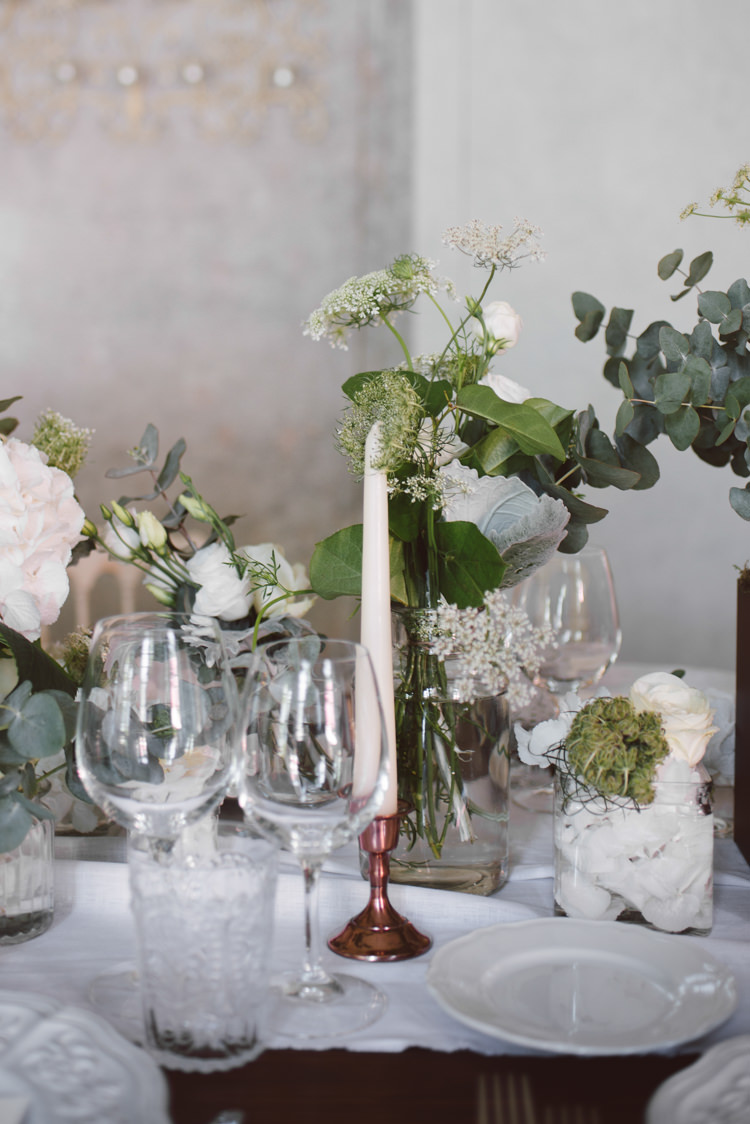 Reception Wooden Table White Table Runner White Florals Greenery Copper Candlesticks Botanical Copper Greenery Lake Como Wedding http://margheritacalatiphotography.com/
