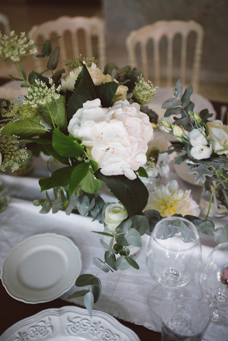 Reception Wooden Table White Chairs White Table Runner White Florals Greenery White Patterned China Botanical Copper Greenery Lake Como Wedding http://margheritacalatiphotography.com/