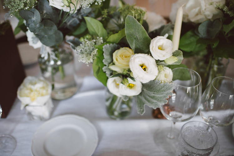 Reception White Florals Roses Poppies Greenery Copper Candlesticks Botanical Copper Greenery Lake Como Wedding http://margheritacalatiphotography.com/