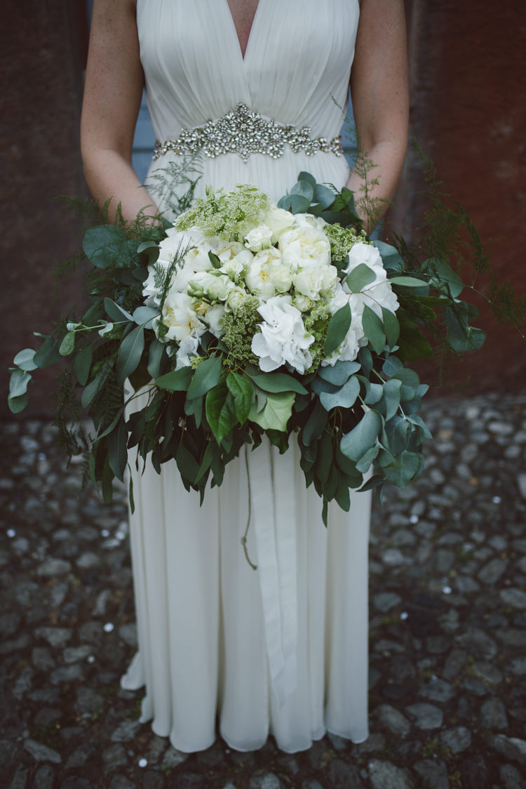 Bride V Neck Jenny Packham Embellished Bridal Gown Bouquet White Cream Florals Roses Greenery Botanical Copper Greenery Lake Como Wedding http://margheritacalatiphotography.com/