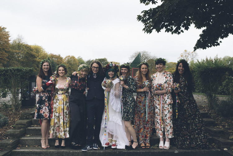 Floral Mismatched Bridesmaids Alternative Creative Budget Wedding http://www.petecranston.com/