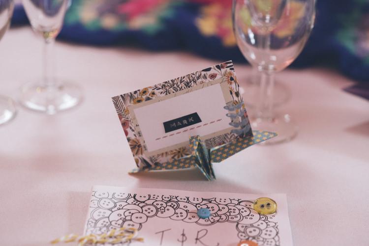 Place Name Setting Floral Paper Cranes Alternative Creative Budget Wedding http://www.petecranston.com/