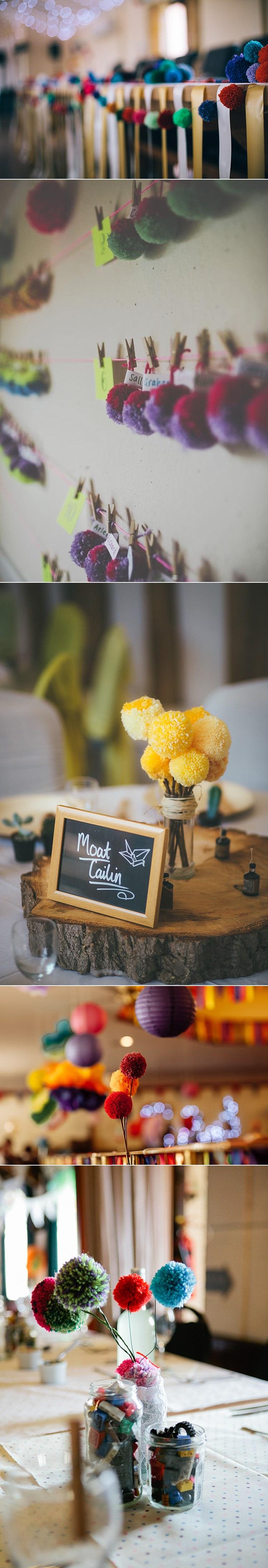 Alternative Wedding Flower Ideas Pom Poms Wool