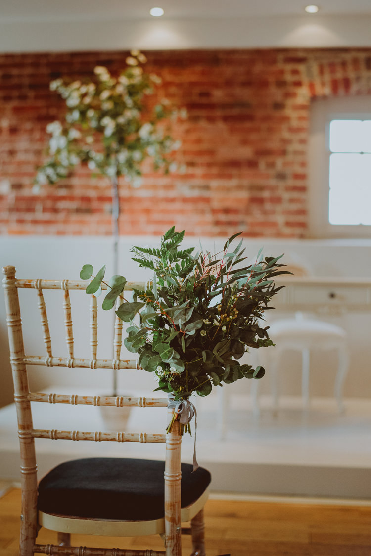 Pew End Aisle Chairs Ceremony Flowers Foliage Greenery Modern Minimal Botanical Winter Wedding http://bigbouquet.co.uk/