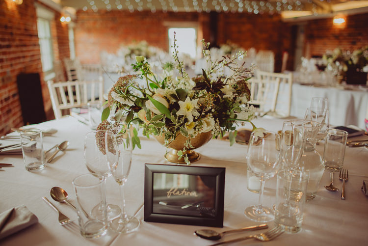Bouquet Flowers Gold Urn Centrepiece Table Greenery Foliage Burgundy White Ribbon Modern Minimal Botanical Winter Wedding http://bigbouquet.co.uk/