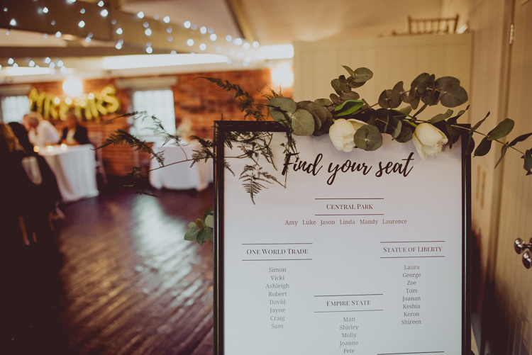 Table Seating Plan Flowers Foliage Greenery Modern Minimal Botanical Winter Wedding http://bigbouquet.co.uk/
