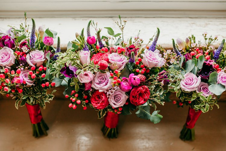 Bouquet Jewel Tone Rose Berries Pink Purple Fun Colourful Modern Music Wedding http://hollycollingsphotography.com/