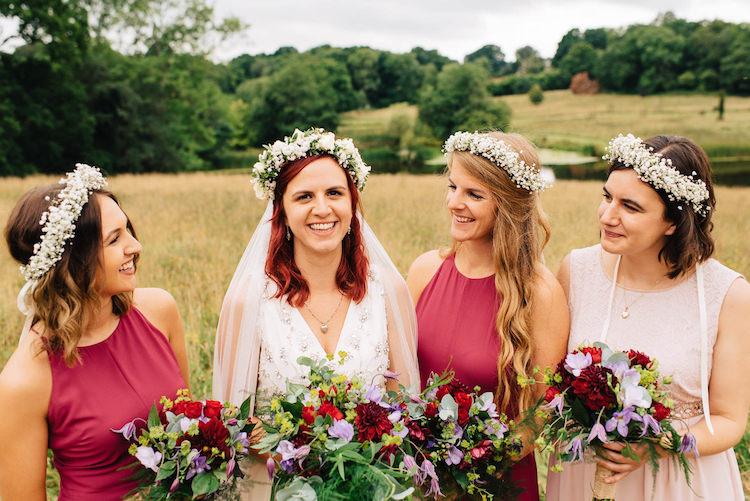 Mismatched Bridesmaids Flower Crowns Bouquets Informal Camp Woodland Wedding https://stevenanthonyphotography.co.uk/