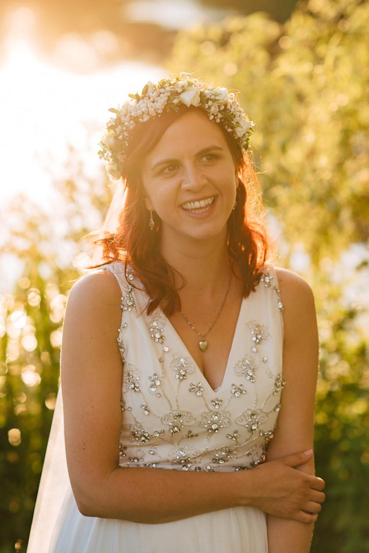 Jenny Packham Beaded Sequin Dress Bride Bridal Flower Crown Informal Camp Woodland Wedding https://stevenanthonyphotography.co.uk/