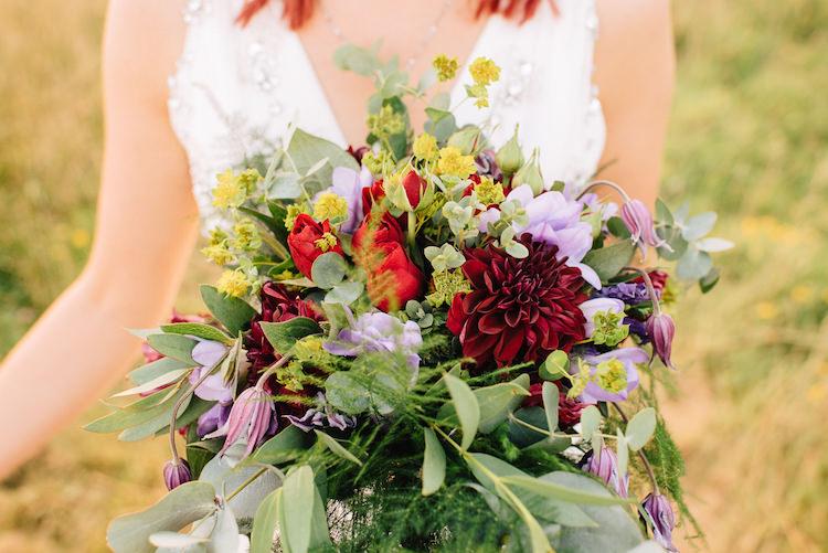 Bouquet Flowers Bride Bridal Red Dahlia Rose Purple Informal Camp Woodland Wedding https://stevenanthonyphotography.co.uk/