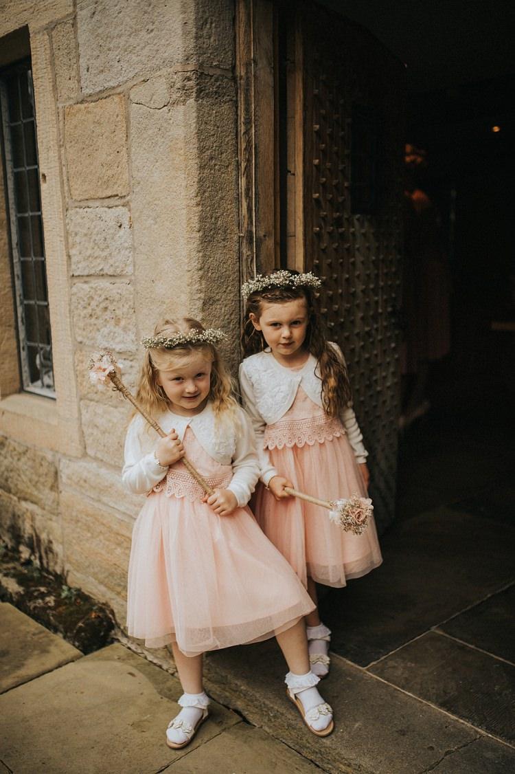 Pink Flower Girl Dresses Crowns Wands Enchanting Woodland Boho Wedding http://www.kerrydiamondphotography.com/