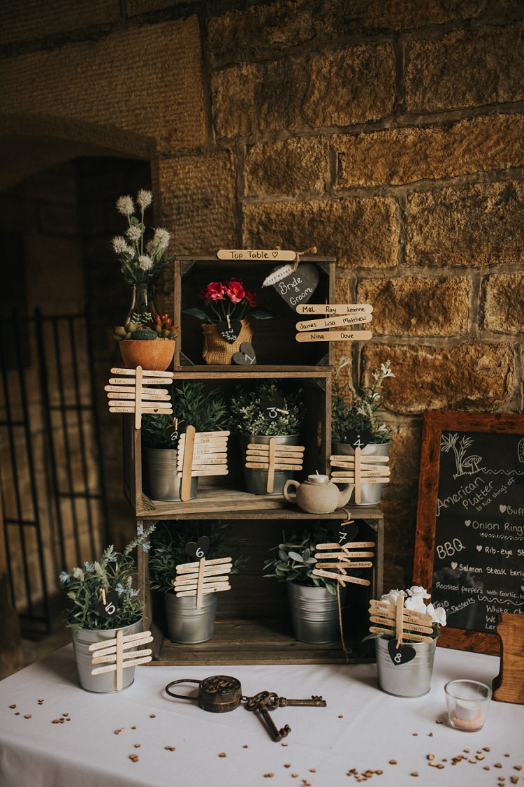 Seating Plan Table Chart Crates Sticks Potted Plants Enchanting Woodland Boho Wedding http://www.kerrydiamondphotography.com/