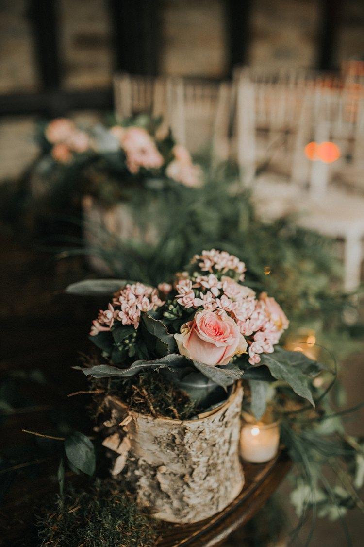 Log Vase Flowers Pink Rose Greenery Enchanting Woodland Boho Wedding http://www.kerrydiamondphotography.com/