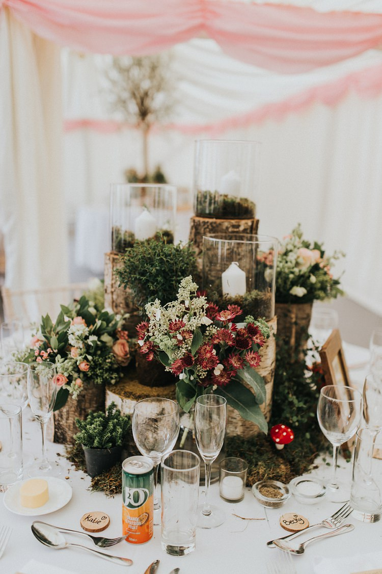 Centrepiece Decor Moss Logs Flowers Enchanting Woodland Boho Wedding http://www.kerrydiamondphotography.com/