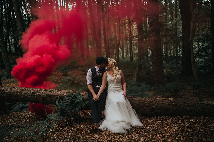 Smoke Bomb Bride Groom Enchanting Woodland Boho Wedding http://www.kerrydiamondphotography.com/