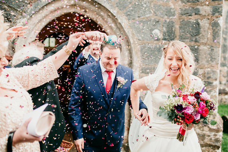 Bride Bridal Ivory & Co A-Line Dress M&S Groom Confetti Shot Fun Colourful Modern Music Wedding http://hollycollingsphotography.com/