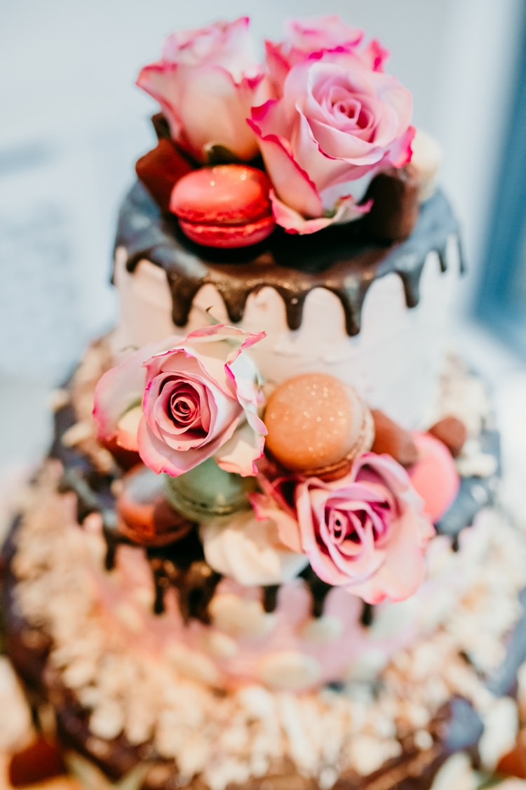 Drip Cake Macarons Flowers Fun Colourful Modern Music Wedding http://hollycollingsphotography.com/